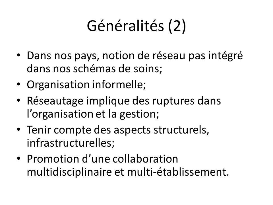 Généralités (2) Dans nos pays, notion de réseau pas intégré dans nos schémas de soins; Organisation informelle; Réseautage implique des ruptures dans