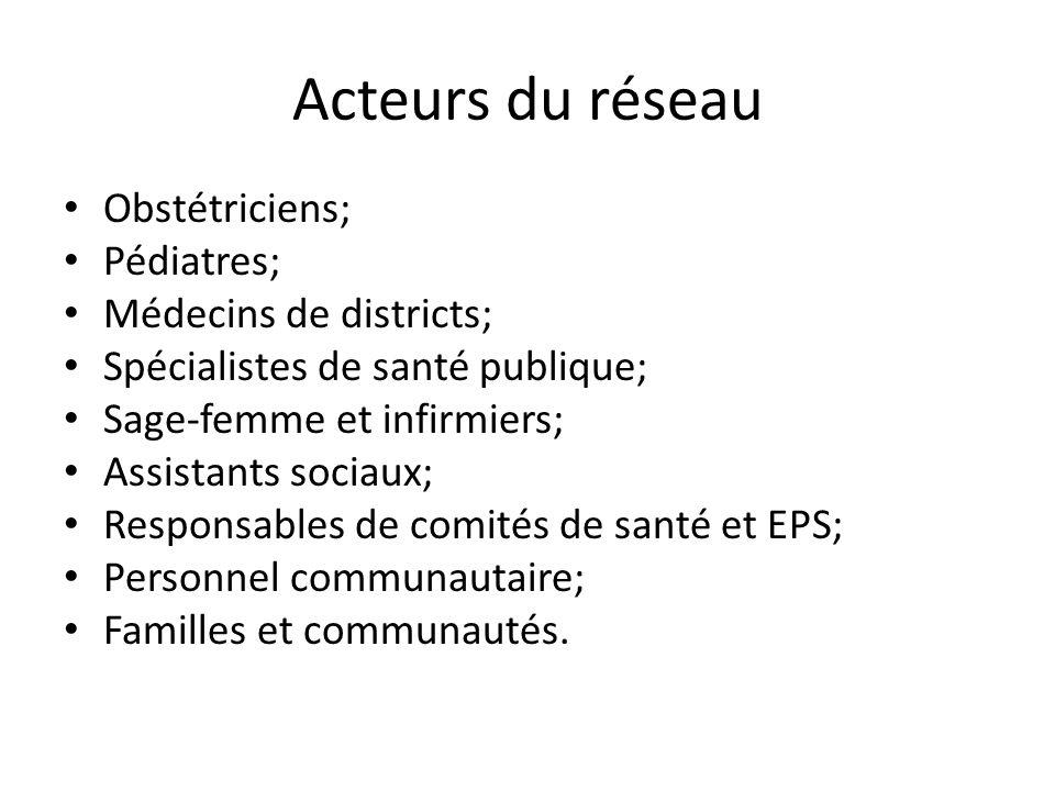 Acteurs du réseau Obstétriciens; Pédiatres; Médecins de districts; Spécialistes de santé publique; Sage-femme et infirmiers; Assistants sociaux; Respo