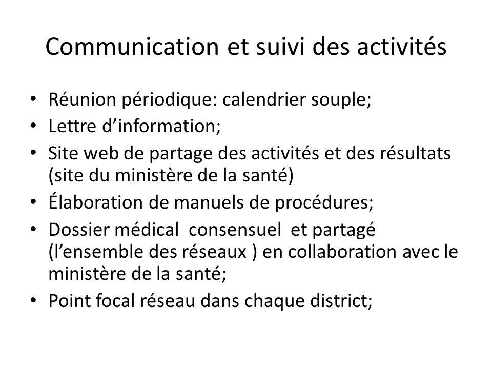 Communication et suivi des activités Réunion périodique: calendrier souple; Lettre dinformation; Site web de partage des activités et des résultats (s