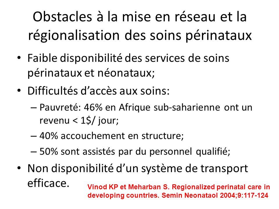 Obstacles à la mise en réseau et la régionalisation des soins périnataux Faible disponibilité des services de soins périnataux et néonataux; Difficult