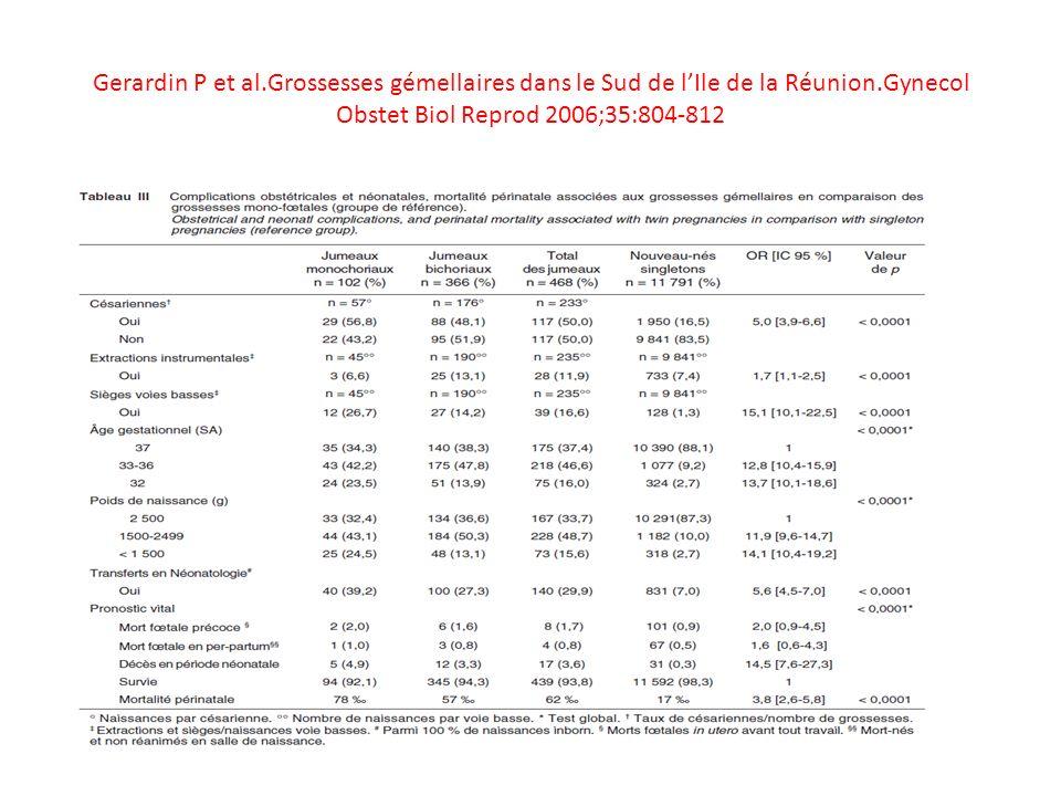 Gerardin P et al.Grossesses gémellaires dans le Sud de lIle de la Réunion.Gynecol Obstet Biol Reprod 2006;35:804-812
