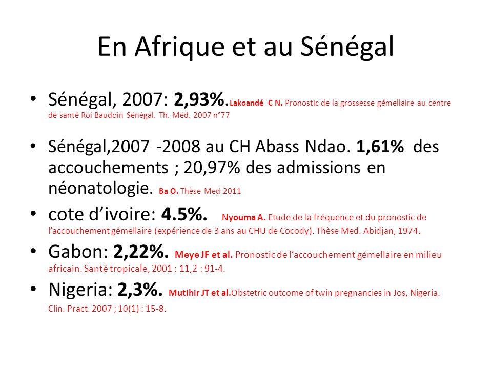 En Afrique et au Sénégal Sénégal, 2007: 2,93%. Lakoandé C N. Pronostic de la grossesse gémellaire au centre de santé Roi Baudoin Sénégal. Th. Méd. 200