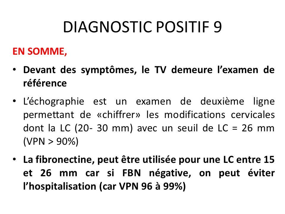 DIAGNOSTIC POSITIF 9 EN SOMME, Devant des symptômes, le TV demeure lexamen de référence Léchographie est un examen de deuxième ligne permettant de «ch