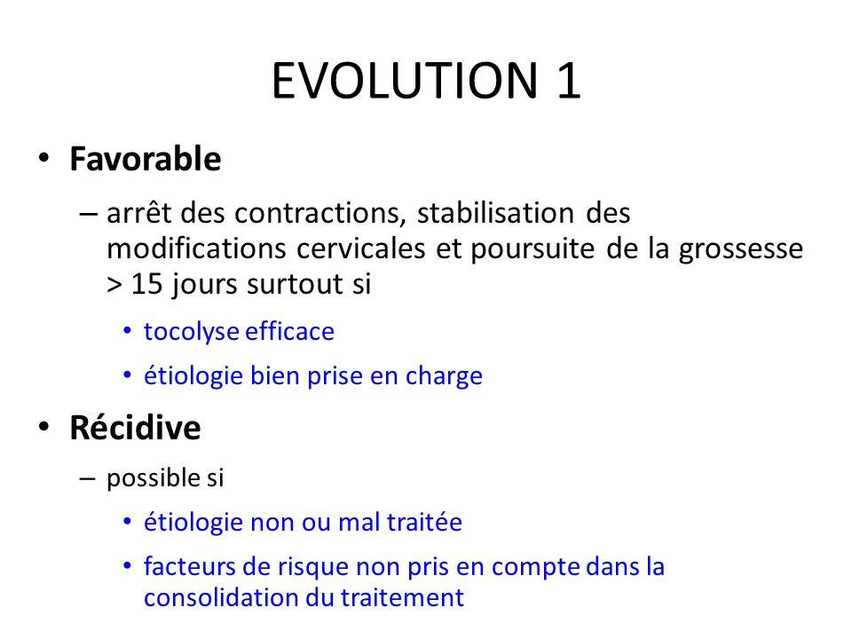 EVOLUTION 1 Favorable – arrêt des contractions, stabilisation des modifications cervicales et poursuite de la grossesse > 15 jours surtout si tocolyse