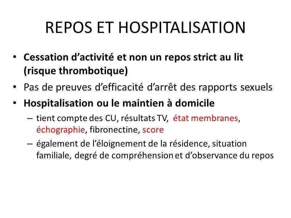 REPOS ET HOSPITALISATION Cessation dactivité et non un repos strict au lit (risque thrombotique) Pas de preuves defficacité darrêt des rapports sexuel
