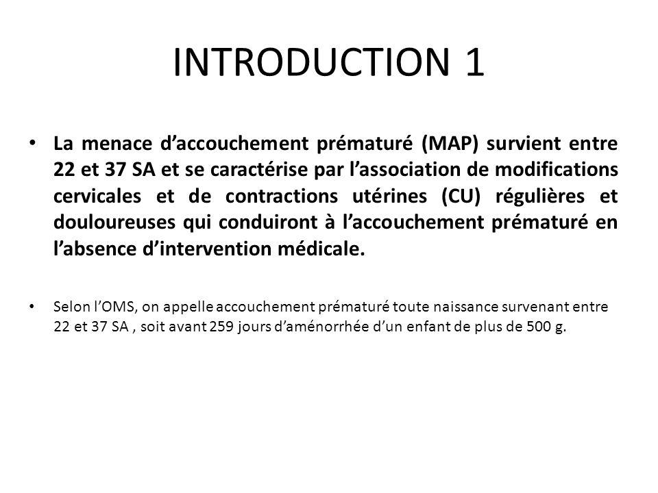 INTRODUCTION 1 La menace daccouchement prématuré (MAP) survient entre 22 et 37 SA et se caractérise par lassociation de modifications cervicales et de