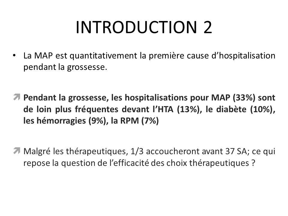 INTRODUCTION 2 La MAP est quantitativement la première cause dhospitalisation pendant la grossesse. Pendant la grossesse, les hospitalisations pour MA