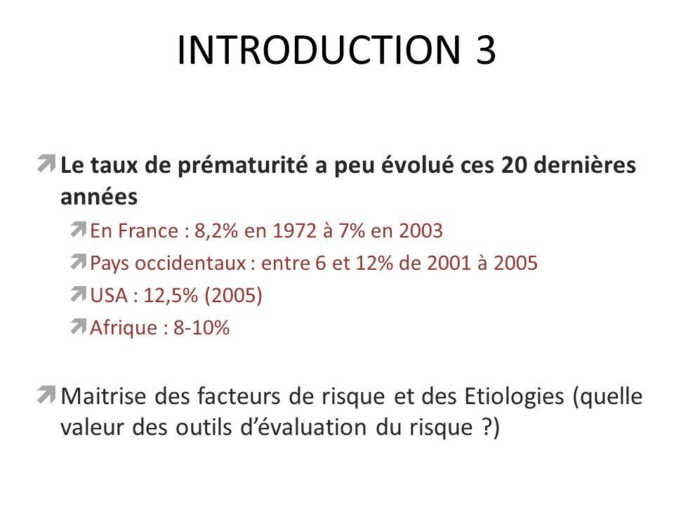 INTRODUCTION 3 Le taux de prématurité a peu évolué ces 20 dernières années En France : 8,2% en 1972 à 7% en 2003 Pays occidentaux : entre 6 et 12% de