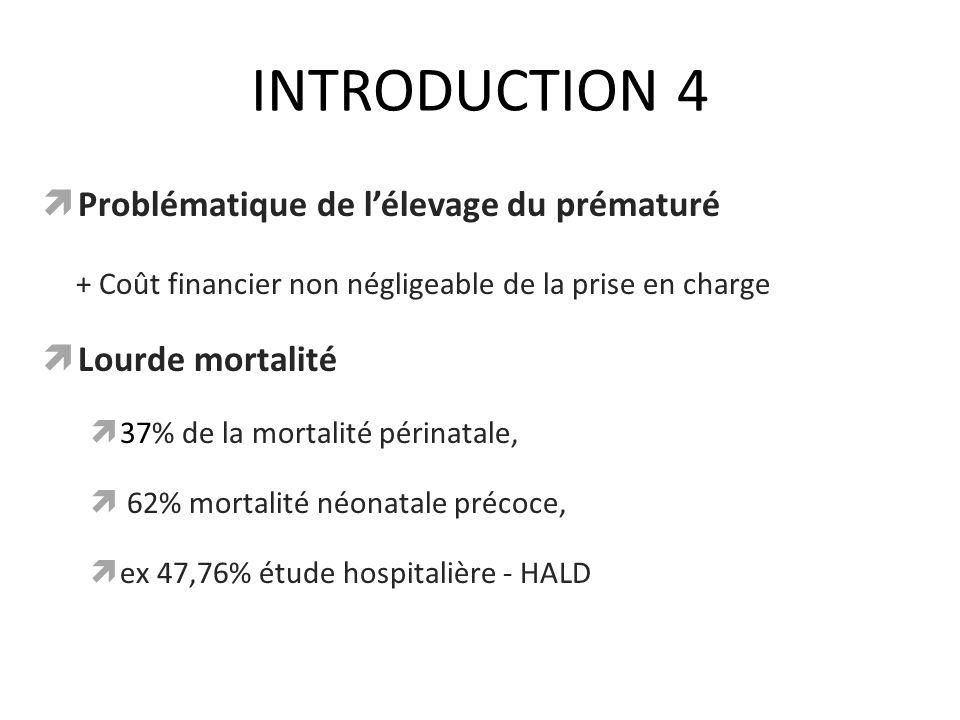 INTRODUCTION 4 Problématique de lélevage du prématuré + Coût financier non négligeable de la prise en charge Lourde mortalité 37% de la mortalité péri
