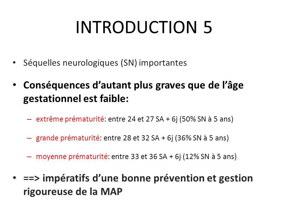 INTRODUCTION 5 Séquelles neurologiques (SN) importantes Conséquences dautant plus graves que de lâge gestationnel est faible: – extrême prématurité: e