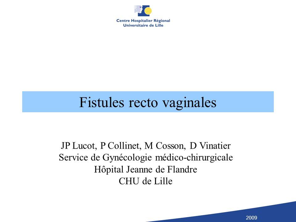 Fistules recto vaginales JP Lucot, P Collinet, M Cosson, D Vinatier Service de Gynécologie médico-chirurgicale Hôpital Jeanne de Flandre CHU de Lille