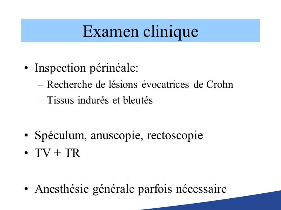 Examen clinique Inspection périnéale: –Recherche de lésions évocatrices de Crohn –Tissus indurés et bleutés Spéculum, anuscopie, rectoscopie TV + TR A