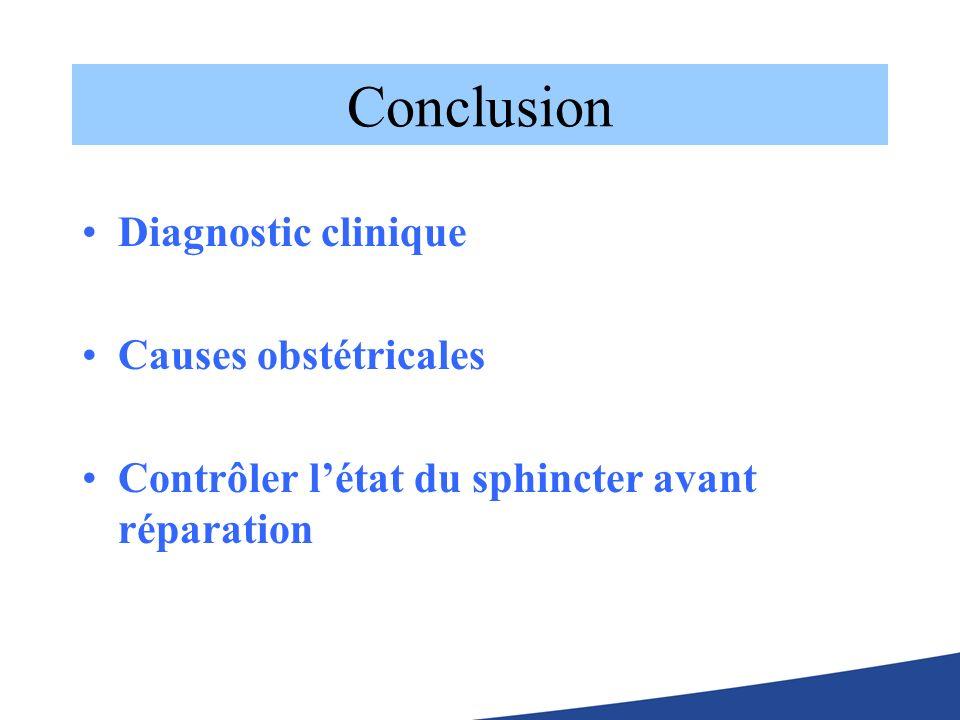 Conclusion Diagnostic clinique Causes obstétricales Contrôler létat du sphincter avant réparation
