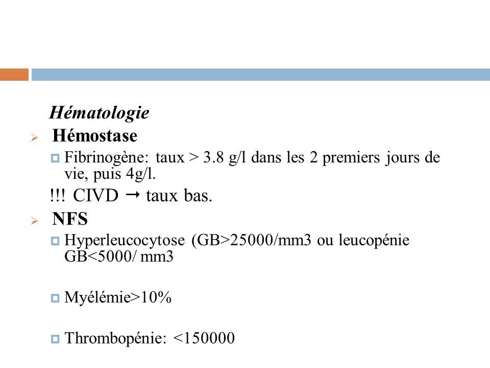 Hématologie Hémostase Fibrinogène: taux > 3.8 g/l dans les 2 premiers jours de vie, puis 4g/l. !!! CIVD taux bas. NFS Hyperleucocytose (GB>25000/mm3 o