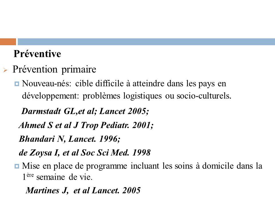 Préventive Prévention primaire Nouveau-nés: cible difficile à atteindre dans les pays en développement: problèmes logistiques ou socio-culturels. Darm