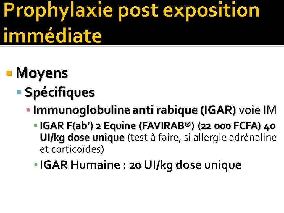 Moyens Moyens Spécifiques Spécifiques Immunoglobuline anti rabique (IGAR) voie IM Immunoglobuline anti rabique (IGAR) voie IM IGAR F(ab) 2 Equine (FAV