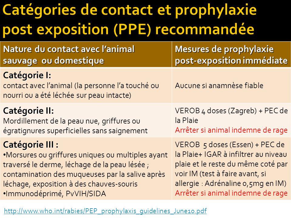 Nature du contact avec lanimal sauvage ou domestique Mesures de prophylaxie post-exposition immédiate Catégorie I: contact avec lanimal (la personne l
