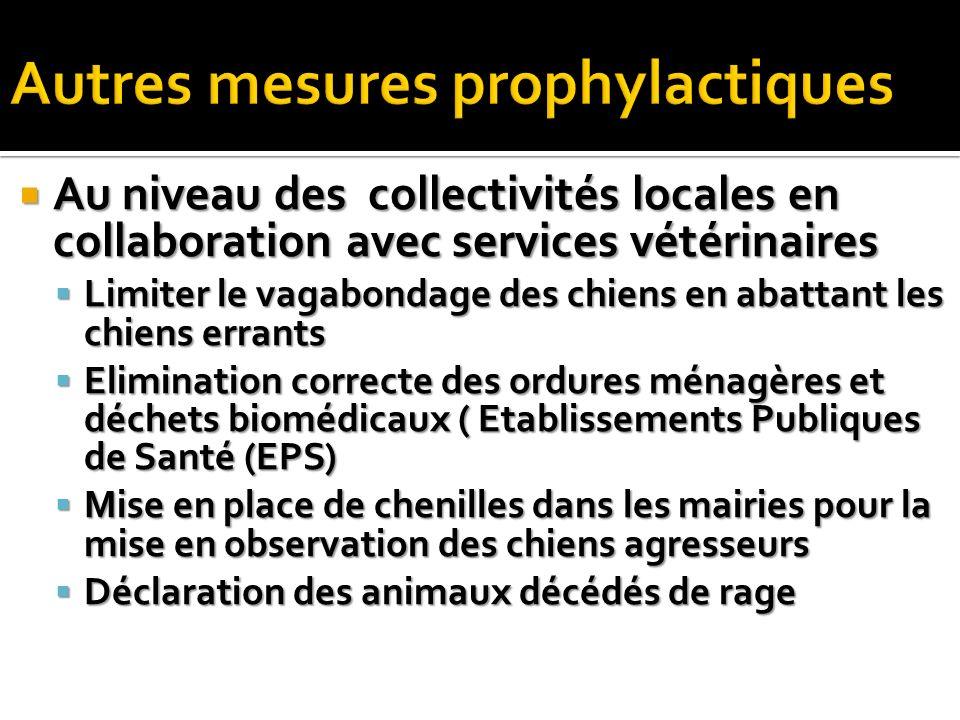 Au niveau des collectivités locales en collaboration avec services vétérinaires Au niveau des collectivités locales en collaboration avec services vét