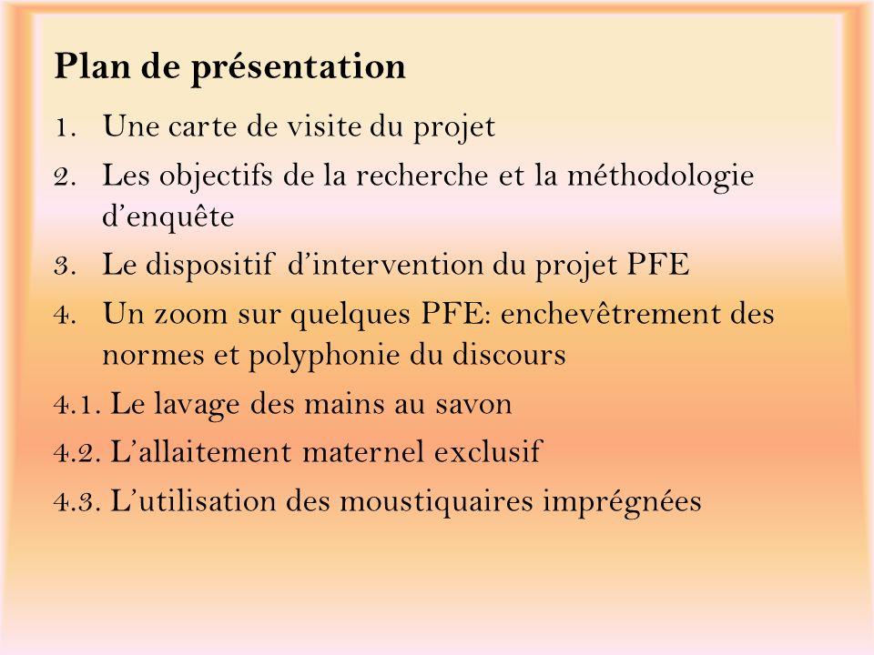 Plan de présentation 1.Une carte de visite du projet 2.Les objectifs de la recherche et la méthodologie denquête 3.Le dispositif dintervention du proj