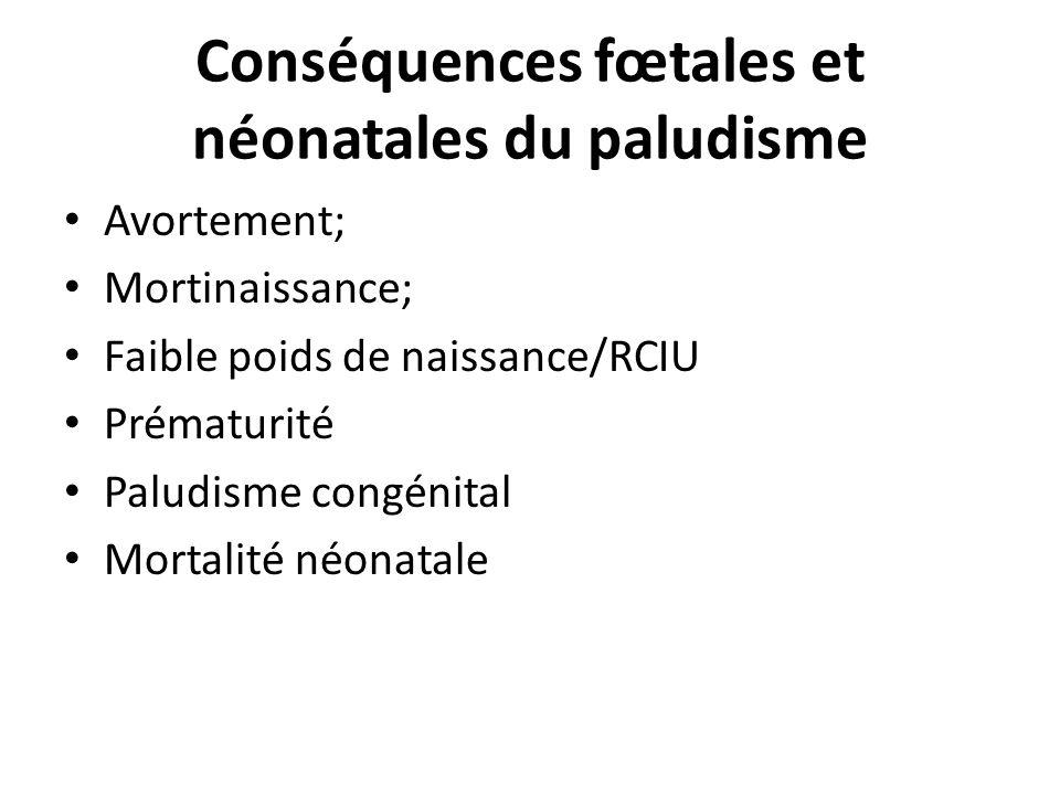 Conséquences fœtales et néonatales du paludisme Avortement; Mortinaissance; Faible poids de naissance/RCIU Prématurité Paludisme congénital Mortalité