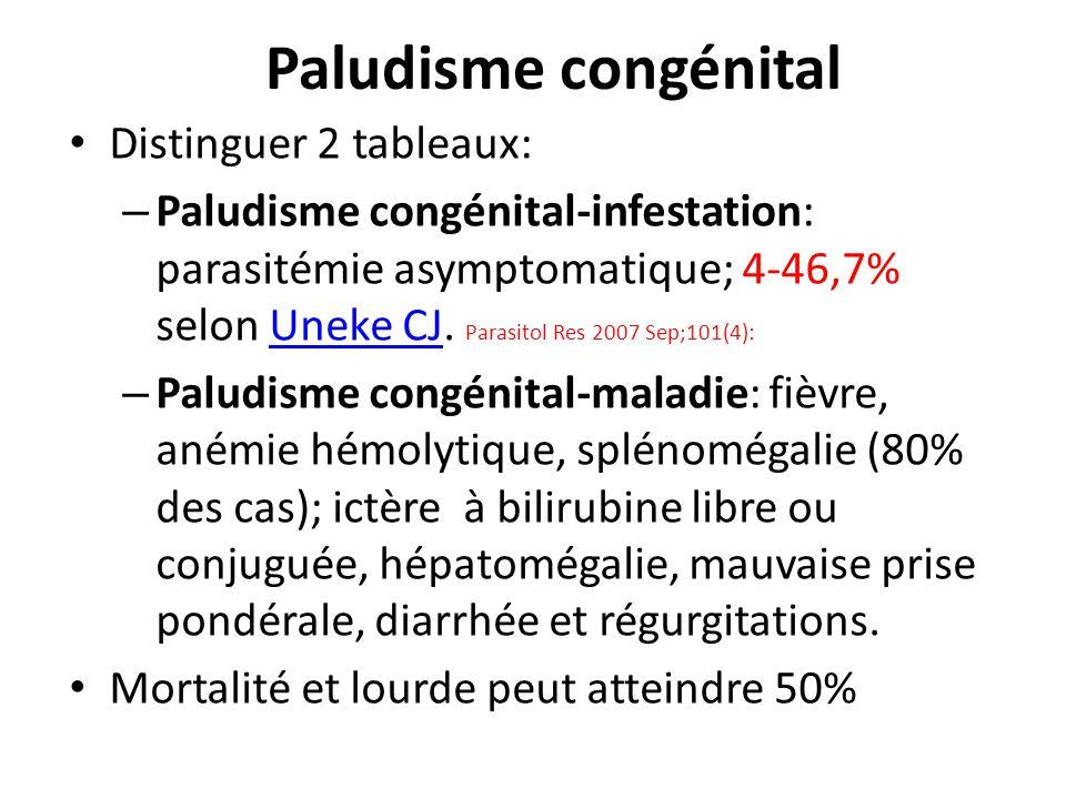 Paludisme congénital Distinguer 2 tableaux: – Paludisme congénital-infestation: parasitémie asymptomatique; 4-46,7% selon Uneke CJ. Parasitol Res 2007
