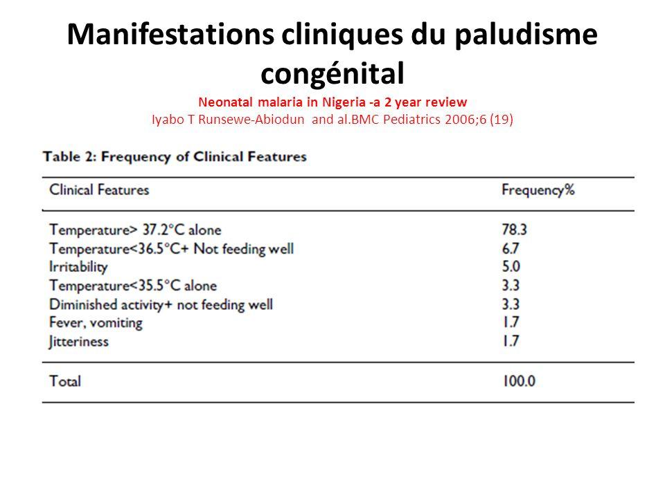 Manifestations cliniques du paludisme congénital Neonatal malaria in Nigeria -a 2 year review Iyabo T Runsewe-Abiodun and al.BMC Pediatrics 2006;6 (19