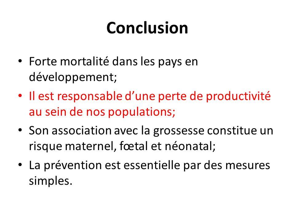 Conclusion Forte mortalité dans les pays en développement; Il est responsable dune perte de productivité au sein de nos populations; Son association a
