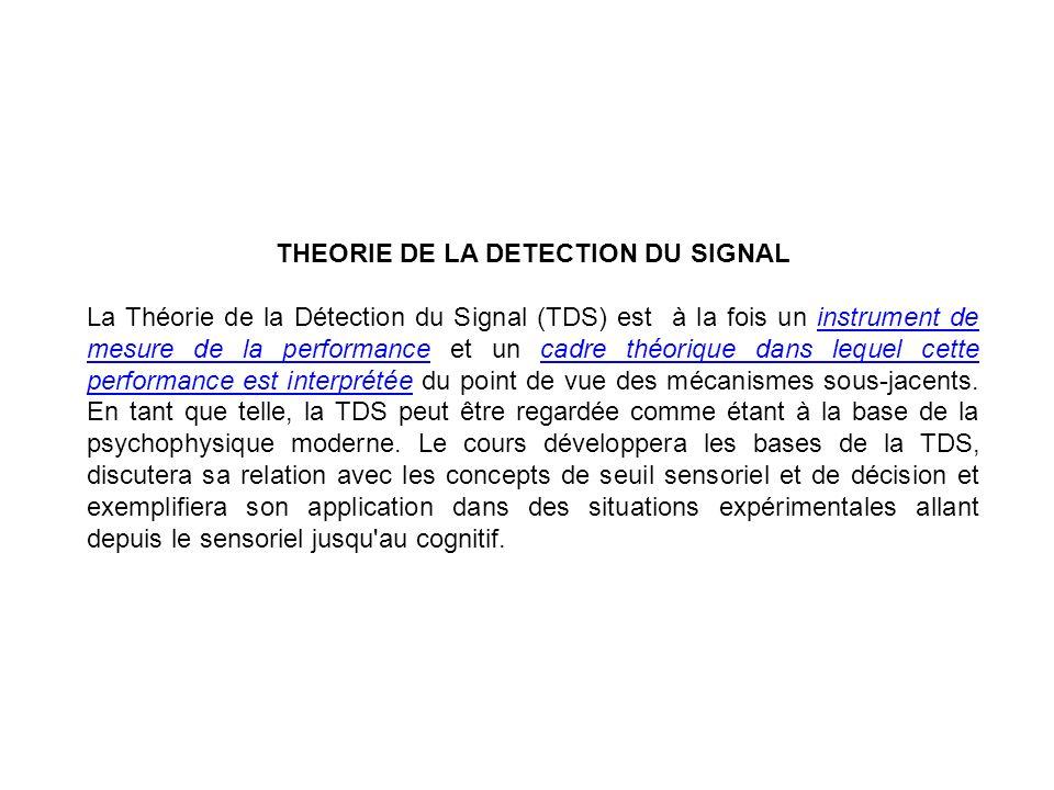 THEORIE DE LA DETECTION DU SIGNAL La Théorie de la Détection du Signal (TDS) est à la fois un instrument de mesure de la performance et un cadre théor
