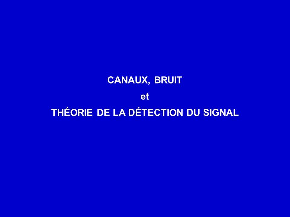 CANAUX, BRUIT et THÉORIE DE LA DÉTECTION DU SIGNAL