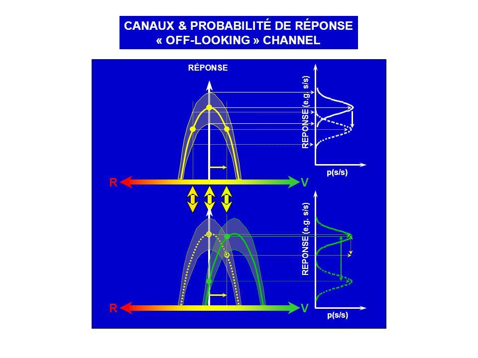 CANAUX & PROBABILITÉ DE RÉPONSE « OFF-LOOKING » CHANNEL RÉPONSE RV p(s/s) REPONSE (e.g. s/s) p(s/s) REPONSE (e.g. s/s) RV