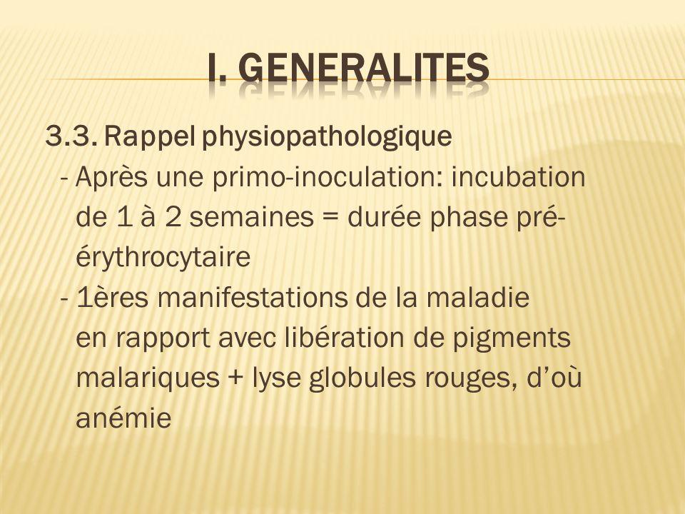 3.3. Rappel physiopathologique - Après une primo-inoculation: incubation de 1 à 2 semaines = durée phase pré- érythrocytaire - 1ères manifestations de