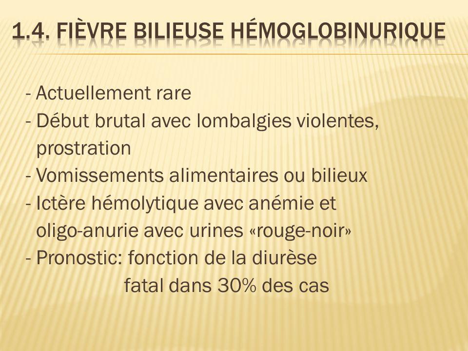 - Actuellement rare - Début brutal avec lombalgies violentes, prostration - Vomissements alimentaires ou bilieux - Ictère hémolytique avec anémie et oligo-anurie avec urines «rouge-noir» - Pronostic: fonction de la diurèse fatal dans 30% des cas