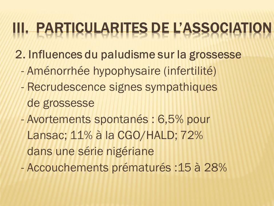2. Influences du paludisme sur la grossesse - Aménorrhée hypophysaire (infertilité) - Recrudescence signes sympathiques de grossesse - Avortements spo