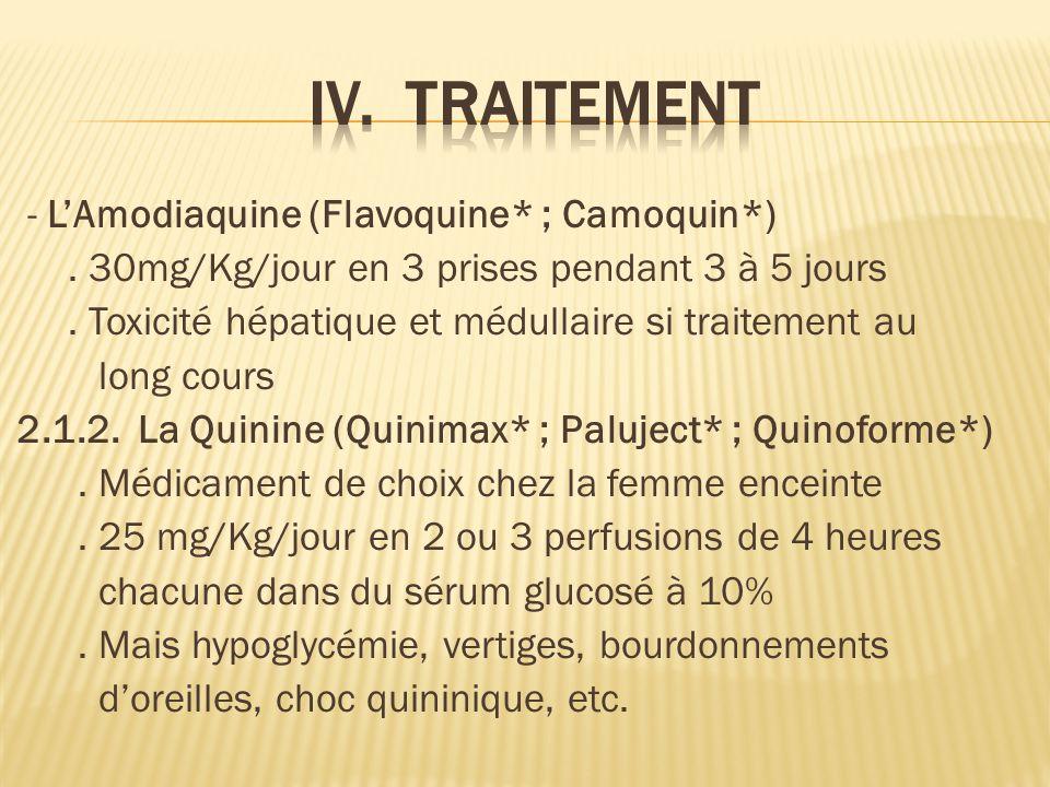 - LAmodiaquine (Flavoquine* ; Camoquin*).30mg/Kg/jour en 3 prises pendant 3 à 5 jours.