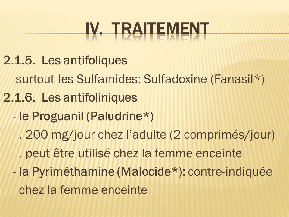 2.1.5.Les antifoliques surtout les Sulfamides: Sulfadoxine (Fanasil*) 2.1.6.