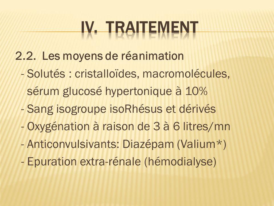 2.2. Les moyens de réanimation - Solutés : cristalloïdes, macromolécules, sérum glucosé hypertonique à 10% - Sang isogroupe isoRhésus et dérivés - Oxy