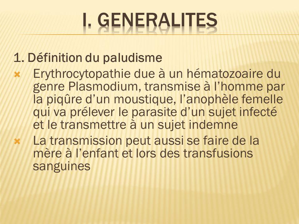 1. Définition du paludisme Erythrocytopathie due à un hématozoaire du genre Plasmodium, transmise à lhomme par la piqûre dun moustique, lanophèle feme