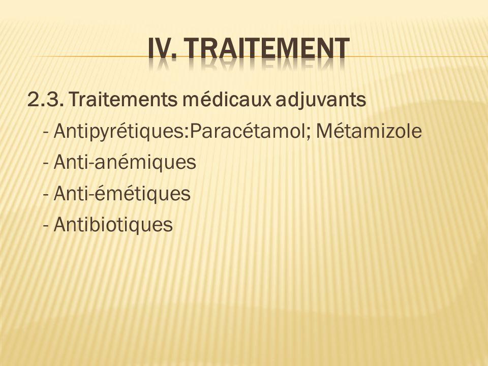 2.3. Traitements médicaux adjuvants - Antipyrétiques:Paracétamol; Métamizole - Anti-anémiques - Anti-émétiques - Antibiotiques