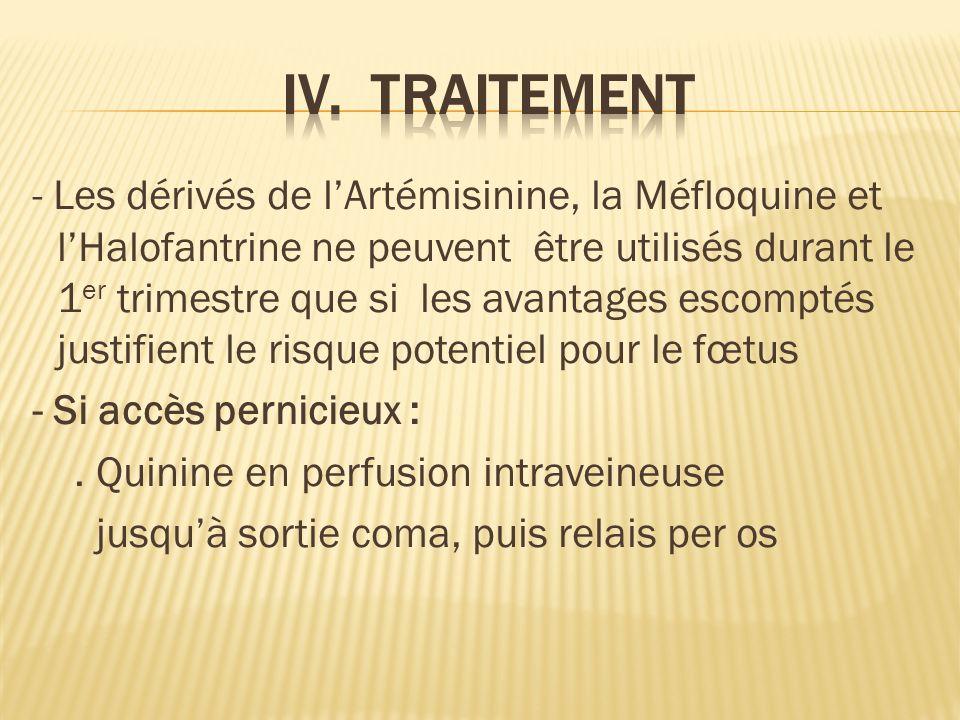 - Les dérivés de lArtémisinine, la Méfloquine et lHalofantrine ne peuvent être utilisés durant le 1 er trimestre que si les avantages escomptés justifient le risque potentiel pour le fœtus - Si accès pernicieux :.