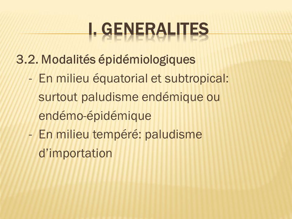 3.2. Modalités épidémiologiques - En milieu équatorial et subtropical: surtout paludisme endémique ou endémo-épidémique - En milieu tempéré: paludisme