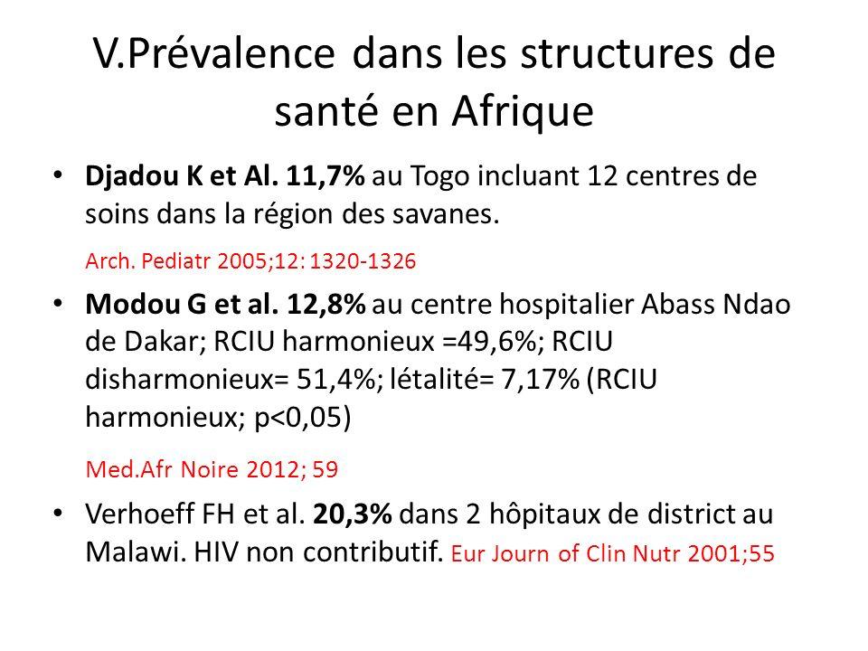V.Prévalence dans les structures de santé en Afrique Djadou K et Al. 11,7% au Togo incluant 12 centres de soins dans la région des savanes. Arch. Pedi