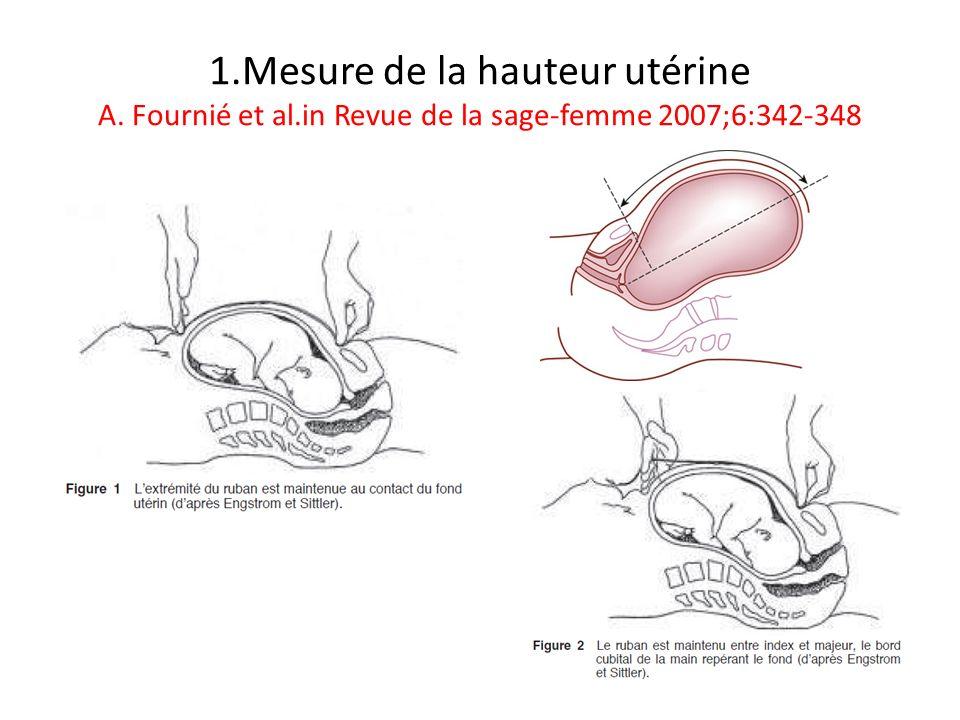 1.Mesure de la hauteur utérine A. Fournié et al.in Revue de la sage-femme 2007;6:342-348