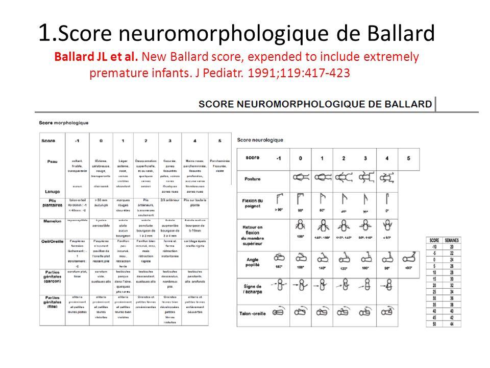 1. Score neuromorphologique de Ballard Ballard JL et al. New Ballard score, expended to include extremely premature infants. J Pediatr. 1991;119:417-4