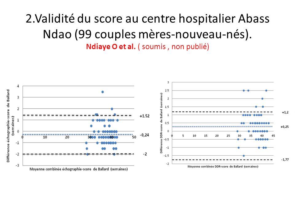 2.Validité du score au centre hospitalier Abass Ndao (99 couples mères-nouveau-nés). Ndiaye O et al. ( soumis, non publié)