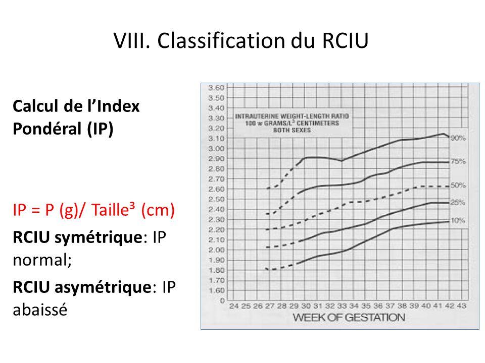 VIII. Classification du RCIU Calcul de lIndex Pondéral (IP) IP = P (g)/ Taille³ (cm) RCIU symétrique: IP normal; RCIU asymétrique: IP abaissé