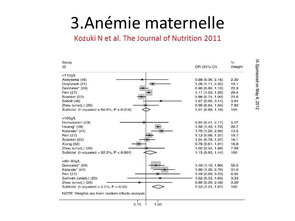 3.Anémie maternelle Kozuki N et al. The Journal of Nutrition 2011