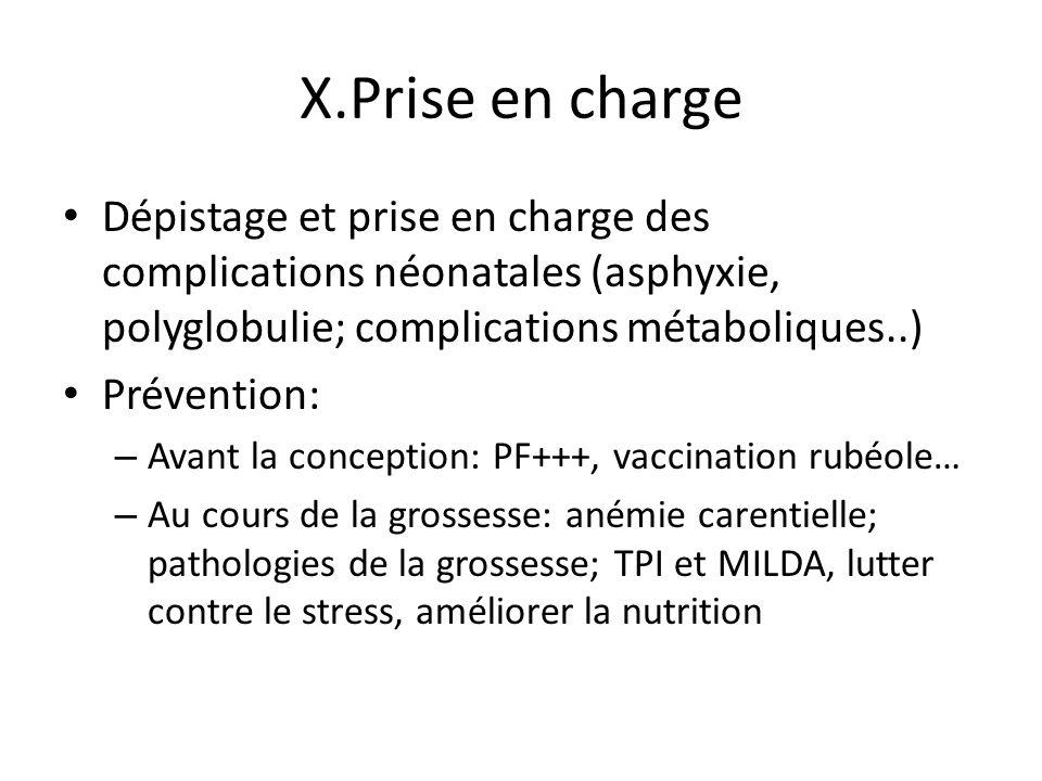 X.Prise en charge Dépistage et prise en charge des complications néonatales (asphyxie, polyglobulie; complications métaboliques..) Prévention: – Avant