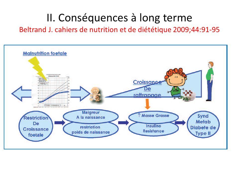 II. Conséquences à long terme Beltrand J. cahiers de nutrition et de diététique 2009;44:91-95