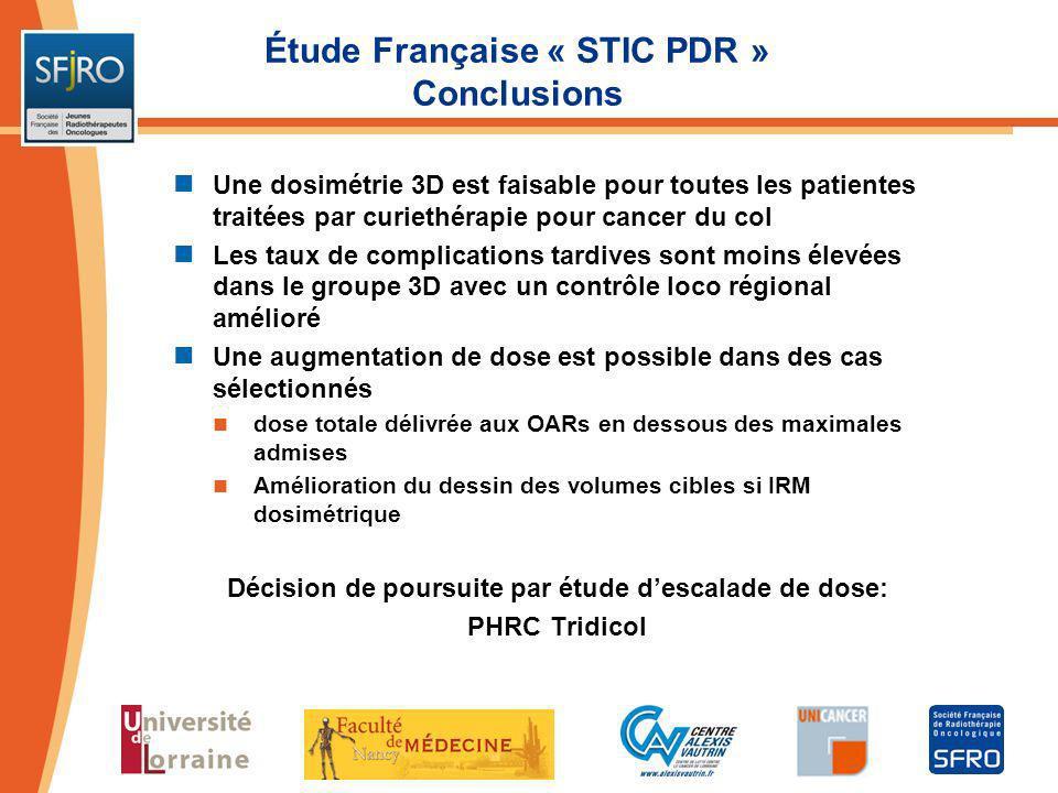 Étude Française « STIC PDR » Conclusions Une dosimétrie 3D est faisable pour toutes les patientes traitées par curiethérapie pour cancer du col Les ta