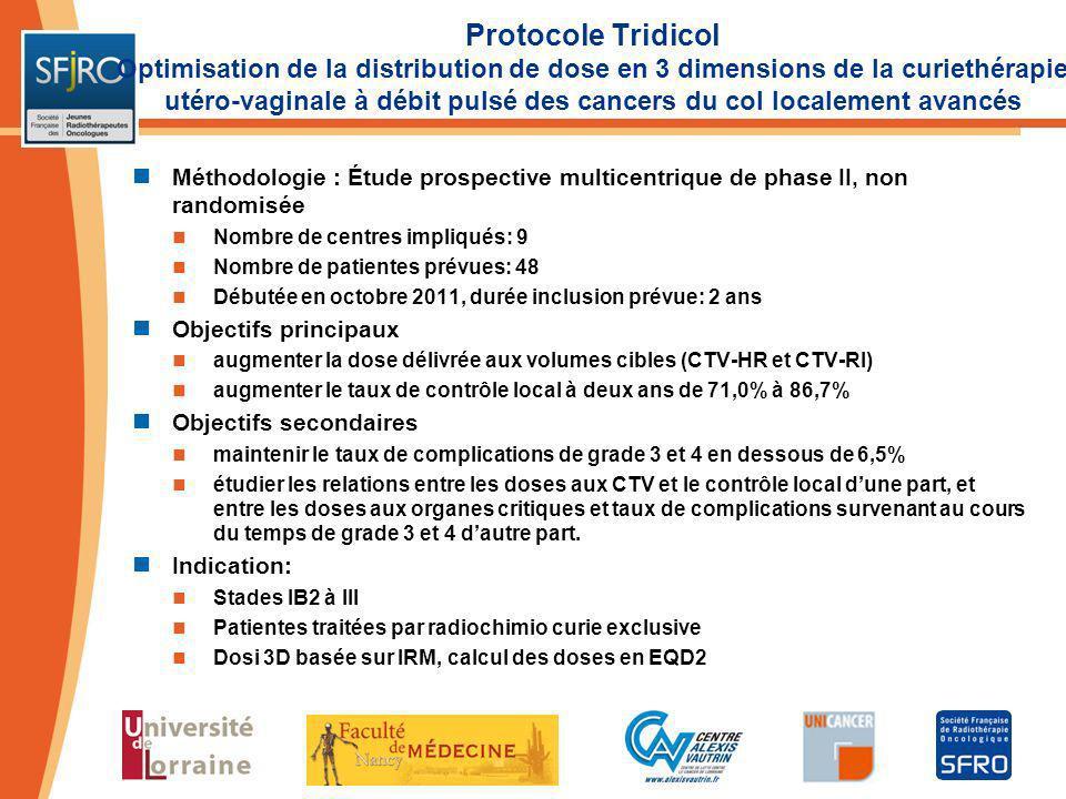 Protocole Tridicol Optimisation de la distribution de dose en 3 dimensions de la curiethérapie utéro-vaginale à débit pulsé des cancers du col localem